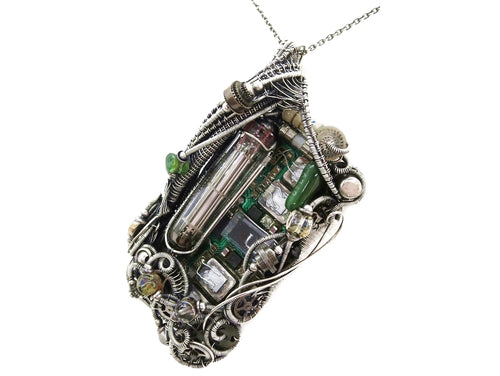 Upcycled Vintage Circuit Board & Vaccum Tube Cyberpunk/Steampunk Fusion Pendant