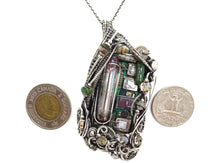 Load image into Gallery viewer, Upcycled Vintage Circuit Board & Vaccum Tube Cyberpunk/Steampunk Fusion Pendant
