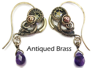 Wire-Wrapped Amethyst Steampunk Heart Earrings - Heather Jordan Jewelry