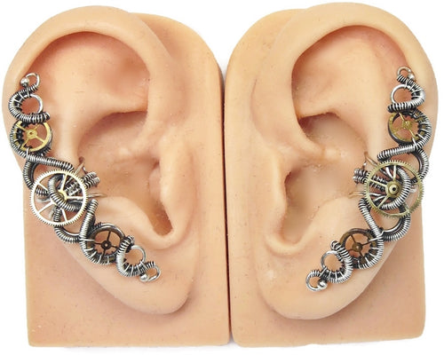 3-Gear Steampunk Ear Cuff;