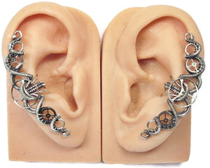 "3-Gear Steampunk Ear Cuff; ""Helix"": Model - Heather Jordan Jewelry"