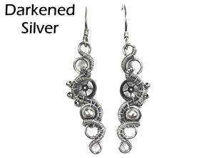 Sterling Silver Woven Steampunk Earrings - Heather Jordan Jewelry