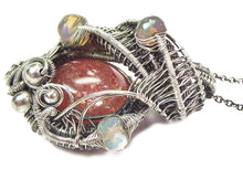 Load image into Gallery viewer, Sunstone Wire-Wrapped Pendant with Ethiopian Welo Opals