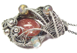 Sunstone Wire-Wrapped Pendant with Ethiopian Welo Opals