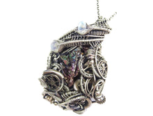 Load image into Gallery viewer, Steampunk Bismuth Crystal Pendant with Rainbow Moonstone