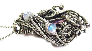 Steampunk Bismuth Crystal Pendant with Rainbow Moonstone