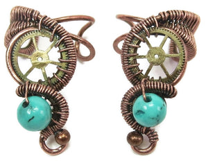 Custom Gemstone Small Bronze Steampunk Ear Cuff - Heather Jordan Jewelry