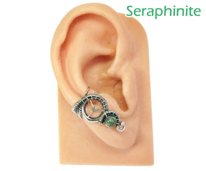 Custom Gemstone and Sterling Silver Small Steampunk Ear Cuff - Heather Jordan Jewelry