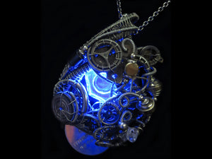 Blue Hex Nut LED Steampunk/Cyberpunk Fusion Pendant