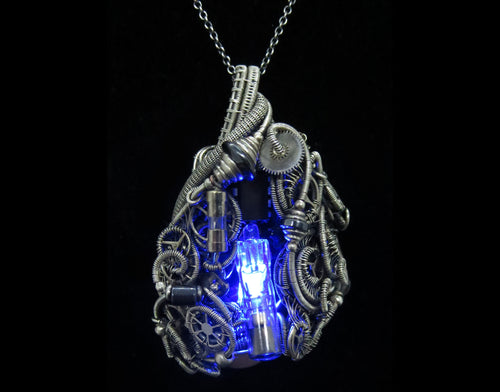 Blue Flickering Nixie Tube Steampunk-Cyberpunk Fusion Pendant