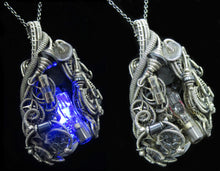 Load image into Gallery viewer, Blue Flickering Nixie Tube Steampunk-Cyberpunk Fusion Pendant