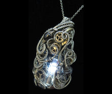 Load image into Gallery viewer, White Flickering Nixie Tube Steampunk-Cyberpunk Fusion Pendant