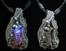 Load image into Gallery viewer, Cyberpunk Nixie Tube Necklace with Upcycled Electronic and Watch Parts, Blue & Orange LED