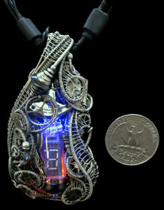 Cyberpunk Nixie Tube Necklace with Upcycled Electronic and Watch Parts, Blue & Orange LED