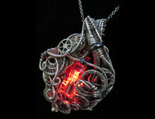 Load image into Gallery viewer, Red LED Nixie Tube Cyberpunk-Steampunk Fusion Pendant