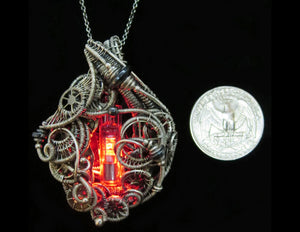 Red LED Nixie Tube Cyberpunk-Steampunk Fusion Pendant