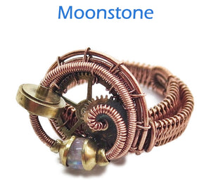 Bronze Adjustable Steampunk Ring with Custom Gemstone - Heather Jordan Jewelry