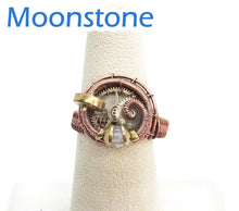 Load image into Gallery viewer, Bronze Adjustable Steampunk Ring with Custom Gemstone - Heather Jordan Jewelry