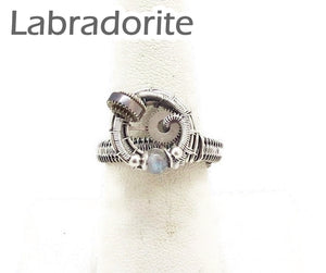 Sterling Silver Adjustable Steampunk Ring with Custom Gemstone - Heather Jordan Jewelry