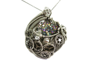 Titanium Druzy Steampunk Pendant with Herkimer Diamonds in Sterling Silver