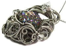 Load image into Gallery viewer, Titanium Druzy Steampunk Pendant with Herkimer Diamonds in Sterling Silver