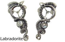"Load image into Gallery viewer, Custom Gemstone and Sterling Silver Steampunk Ear Cuff; ""Woven Tail"" Model"