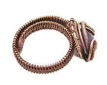 "Load image into Gallery viewer, Adjustable Woven Copper Ring with Custom Gemstone; ""Coriolis"" - Heather Jordan Jewelry"