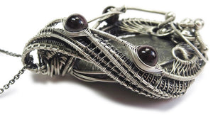 Trilobite Fossil and Almandine Garnet Wire-Wrapped Pendant