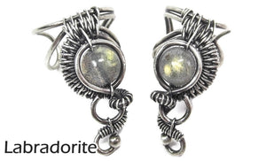 "Custom Gemstone and Sterling Silver Woven Wire Ear Cuff; ""Woven Bezel"" Model - Heather Jordan Jewelry"