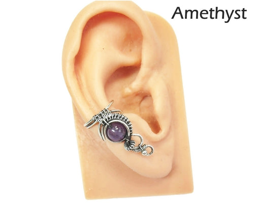 Custom Gemstone and Sterling Silver Woven Wire Ear Cuff;