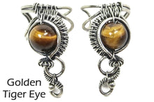 "Load image into Gallery viewer, Custom Gemstone and Sterling Silver Woven Wire Ear Cuff; ""Woven Bezel"" Model - Heather Jordan Jewelry"