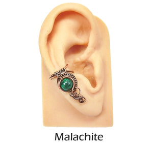 "Custom Gemstone and Copper Woven Wire Ear Cuff; ""Woven Bezel"" Model - Heather Jordan Jewelry"