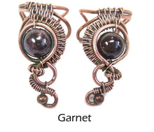 "Load image into Gallery viewer, Custom Gemstone and Copper Woven Wire Ear Cuff; ""Woven Bezel"" Model - Heather Jordan Jewelry"