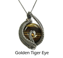 Load image into Gallery viewer, Woven Donut Gemstone & Sterling Silver Wire-Wrapped Pendant - Heather Jordan Jewelry