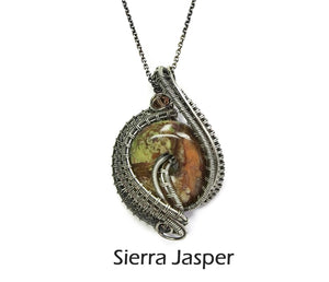 Woven Donut Gemstone & Sterling Silver Wire-Wrapped Pendant - Heather Jordan Jewelry