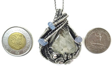 Load image into Gallery viewer, Worm Fossil Wire-Wrapped Pendant in Sterling Silver with Holly Blue Agate - Heather Jordan Jewelry