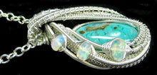 Load image into Gallery viewer, Gem Silica Chrysocolla Wire-Wrapped Pendant in Sterling Silver with Ethiopian Welo Opals - Heather Jordan Jewelry