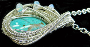Gem Silica Chrysocolla Wire-Wrapped Pendant in Sterling Silver with Ethiopian Welo Opals