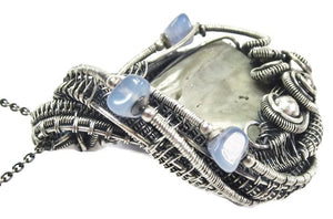 Worm Fossil Wire-Wrapped Pendant in Sterling Silver with Holly Blue Agate - Heather Jordan Jewelry