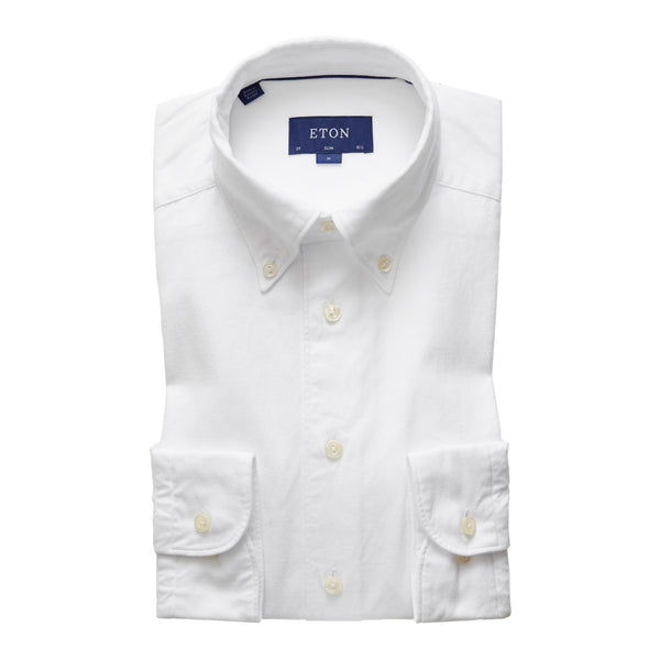 Slim Fit - Soft White Cotton-Tencel Shirt