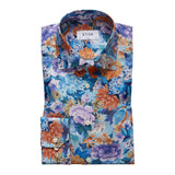 Floral & Bird Print Cotton-Tencel Shirt