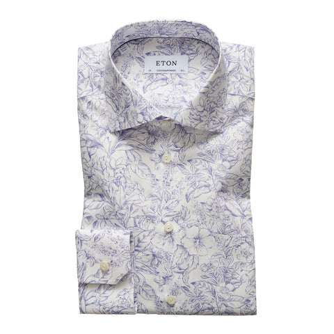 Contemporary Fit - Flower Print Poplin Shirt