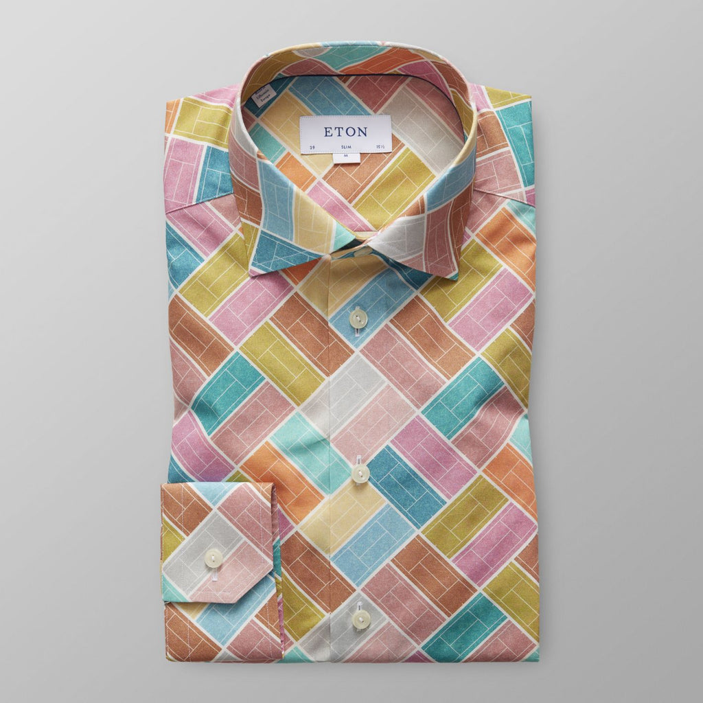 Tennis Court Print Poplin Shirt