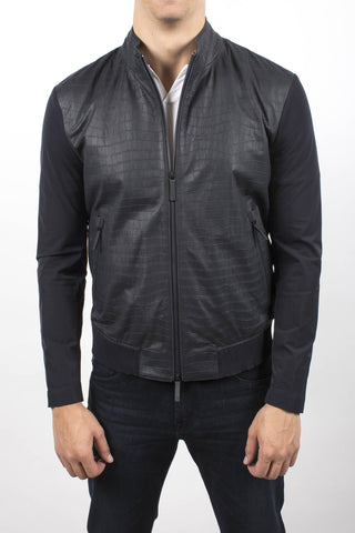 Leather-Trimmed Bomber Jacket