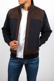 Panelled Leather Knit Sleeve Jacket