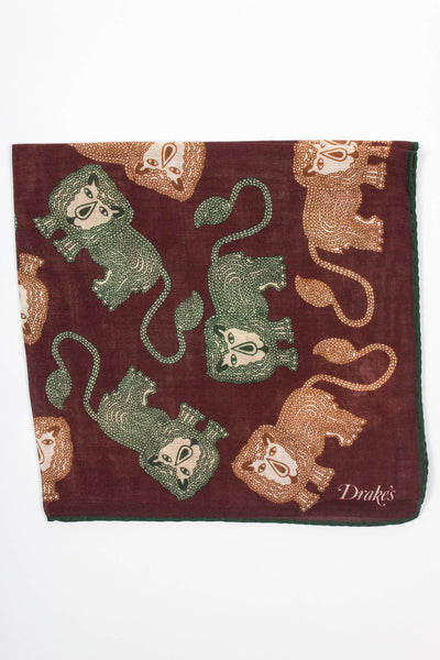 Lion Print Pocket Square