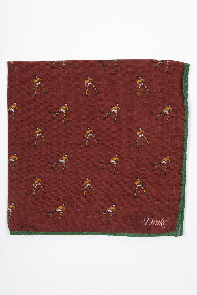 Hockey Player Print Pocket Square