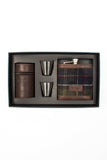 Tartan Hip Flask and Cups in Gift Box Set