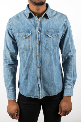 Denim Washed Distressed Shirt