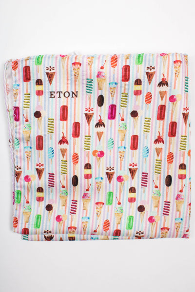 Ice Cream Striped Pocket Square